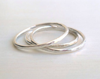 Silver Stacked Rings - Sterling Silver - Hammered - Custom - Handmade - Stackable - Modern - Thin - Minimalist - Hammered Rings