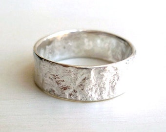 Bark Ring - Size 5 - 8 - Sterling Silver - Handmade - Reticulated - Organic - Natural - Unisex - Silver Bark Ring - Band - Made In Brooklyn
