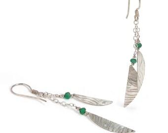 Emerald, Silver Leaf Earrings. Emerald, Sterling Silver Textured Leaf, Wire Wrapped, Dangle, Metalwork Earrings. May Birthstone. OOAK Unique