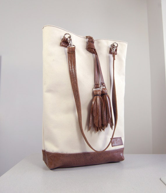 SALE Ismay - canvas and worn brown leather tote bag, handmade.
