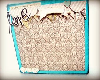 6 x 6 Altered Mixed Media Canvas Love Theme/Kids/BabyAqua/Turquoise Shabby