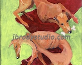 Original acrylic painting on wrapped canvas. Two Greyhounds on Red Carpet. Ready to hang or frame, Shipping included.