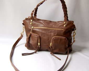 small Willow leather bag in antique brown