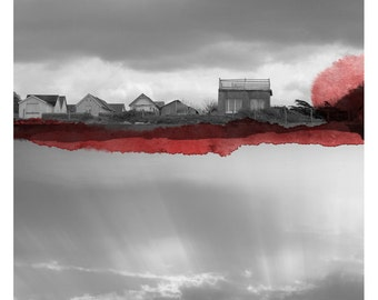 Le Village (Landscape Photography - Fine Art Print - House- Mirror - Sky - WaterColor paints - Black and white - Red)