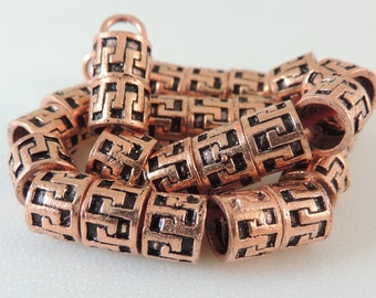 Bali Style Solid Copper Large Hole Beads 7mm X 8mm Cylinder  -- 2 Beads