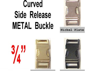 "4 BUCKLES - 3/4"" - METAL, Curved Side Release, Strap Collar, 3/4 inch, non Adjustable, Nickel Plate, Brass Plate or Black"