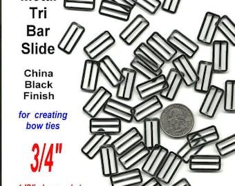 500 Pieces - BOW TIE Metal Slide Adjuster - Black or Nickel Plate - 3/4 inch - Raised Center Bar