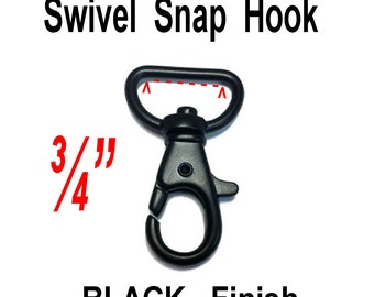 "10 PIECES - 3/4"" - METAL Swivel Trigger Snap Lobster Claw Hook, 3/4 inch, 19.05mm, Purse Strap Clip, BLACK Finish"