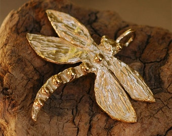 Rustic Gold Bronze Dragonfly Pendant