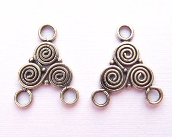 Bali Sterling Silver 3 Circles Chandelier Pair - 14.5mm x 12.5mm