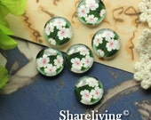 12mm Glass Dome, 8mm 10mm 14mm 16mm 20mm 25mm 30mm Round Floral  glass Cabochon - BCH207L