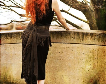 Sleeveless Black Dress/Upcycled Black Velvet Dress/Dress made from vintage materials/One of a Kind Dress/Size Small-Med