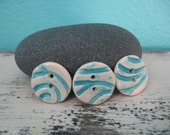 Ceramic Buttons - Handmade - Turquoise Buttons - Set of Three