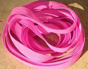HOT PINK Silk Ribbon Hand Dyed and Sewn Strings, Wholesale Bulk Listing 5 to 25 Pink Ribbons, Great Bracelet Wraps, Necklaces or for Crafts