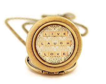 Live Laugh Love - Photo Locket Necklace -Inspirational Quote - Words To Live By