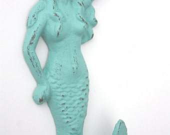 Shabby Cottage Chic Cast Iron Mermaid Hook