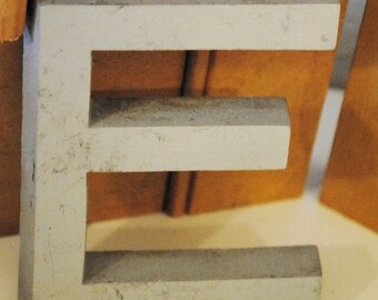 Vintage Industrial Salvage Metal Letter from Building Front Letter Uppercase E  Alphabet Letters