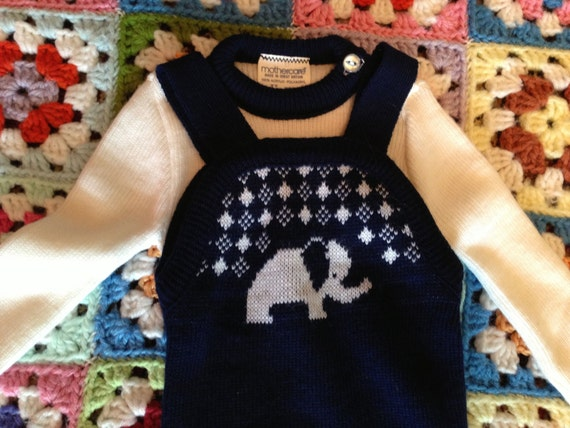 70s Elephant Outfit 0-3 Months