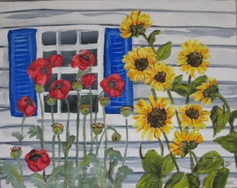 Blue Shutters with Sunflowers and Poppies  Original Painting 16 x 20 inches