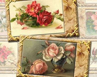 SEcRET GArDEN -ANTiQUE Chic FLoRaL Vintage Art Hang/Gift Tags-Craft Supplies-INSTaNT DOWNLoAD- Printable Collage Sheet JPG Digital File