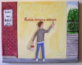 Self-Expression - Original City Boy Acrylic on Canvas Naive Folk Painting 10 x 8
