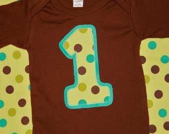 Boys First Birthday Number 1 Shirt in Aqua and Brown Polkadot - 12-18 month long sleeve