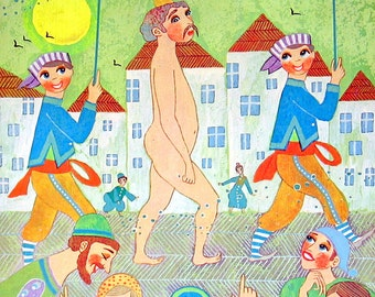 The Emperor's New Clothes  - Colorful Children's Book Page Vintage 1976