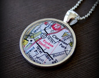 Yankee Stadium Map Necklace - Great Gift for the Baseball Fan