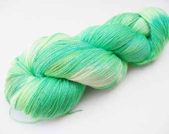 Hand Dyed Silky Lace Yarn - Spring Greens - Silk Merino Lace Weight Yarn - Natural White, Chartreuse, Emerald Green, and Teal