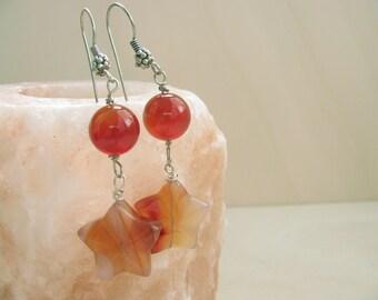 Carnelian earrings  Stars earrings Gemstone Carnelian jewlery