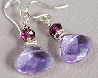 Royalty Crystal and Sterling Earrings - Lavender Glass Briolette Earrings - Purple Earrings - Happy Shack Designs
