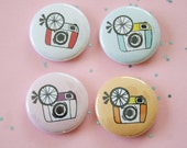 Retro Camera One Inch Button Choose Color(s)