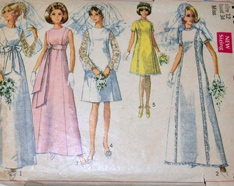 Vintage 60's Sewing Pattern Simplicity 7479 Wedding Gown Bridesmaid A Line  Bust 34 inches Complete