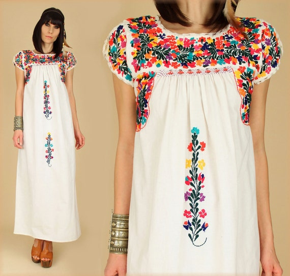 Vintage 70 S Floral Oaxacan Embroidered Handmade Maxi