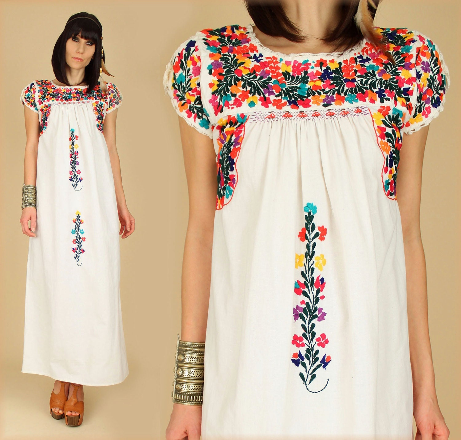 ViNtAgE 70's Floral OAXACAN Embroidered Handmade Maxi