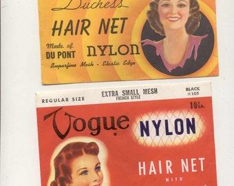 2 pkgs Vintage nylon hair nets unused