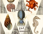 Vintage Sea Life - Nautical Digital Pennant Banner Bunting -DIY  you print  INSTANT DOWNLOAD