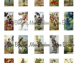 Flower Fairies Garden Fairies Collage Sheet  1x2  Item No. 589 - Domino Art Supplies - DIY You Print - INSTANT DOWNLOAD