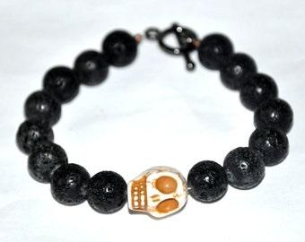 Skull Bracelet,  Men's Bracelet,  Black Lava Stone Bracelet, Masculine Bracelet, Man Gift, Tough Guy, Strength, Fertility