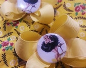 Handmade Yellow Ribbon Bow Hair Clips with Vintage 1950's Rockabilly Pin Up Center Burlesque