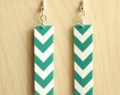 Emerald Chevron Earrings - Acrylic Earrings - Emerald Blue Green and White Chevron Print Rectangle Acrylic Drop Earrings