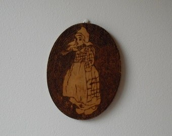 Vintage Wood Burn Wall hanging :  Flemish Wood Folk Art Dutch Girl,  Vintage Wood Pyrography Carving