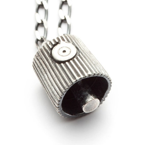 Silver spray can nozzle necklace tag n run redsofa