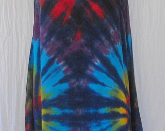 Tie Dye Tunic Tank Top With Asymmetric Hem in Cobalt Rainbow