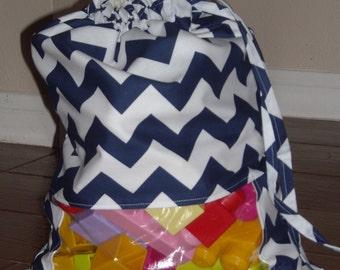 Navy Chevrons peek a boo toy sack