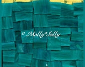 """Mosaic Tiles TEAL GREEN 1/2 - 1"""" Stained Glass Mosaic Tile"""