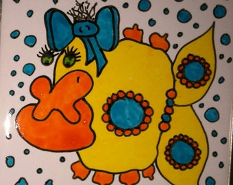 Mosaic Tiles One of a kind Funny DOODLE Fish Ceramic Mosaic Tile