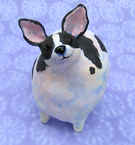 chubby chihuahua fat black and white chihuahua ceramic sculpture chubby 1209