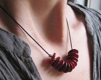 Disk Necklace, Scarlet Red Slate Gray, Waxed Cotton Cord, Summer Casual