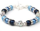 Something Blue Bracelet, Bridesmaid Jewelry, Navy Blue Pearl Rhinestone Bracelet, Winter Accessory
